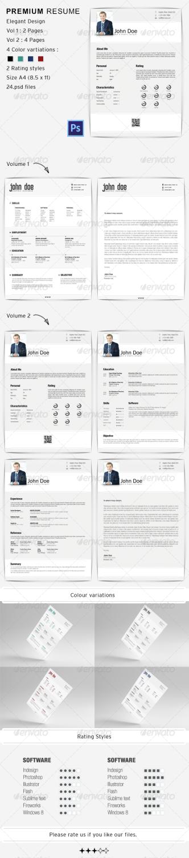 premium resume PSD template