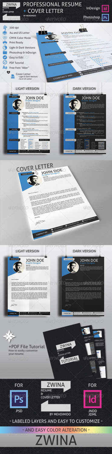 zwina resume and cover letter INDD PSD template