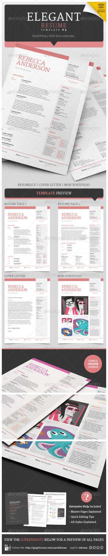 elegant resumecv v2 INDD PSD template