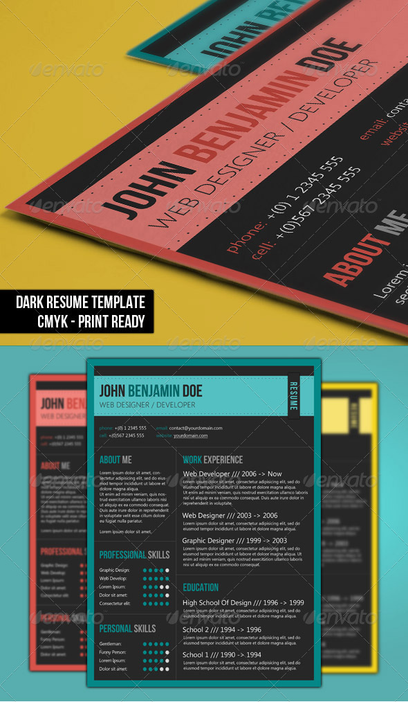 dark resume PSD template