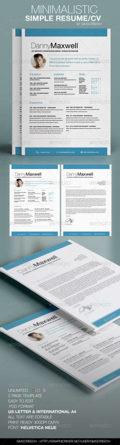 minimalistic simple resume cv PSD template
