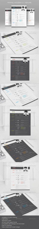 minimal modern cv resume INDD template