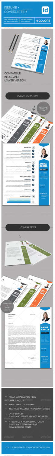 resume coverletter INDD JPG PNG template