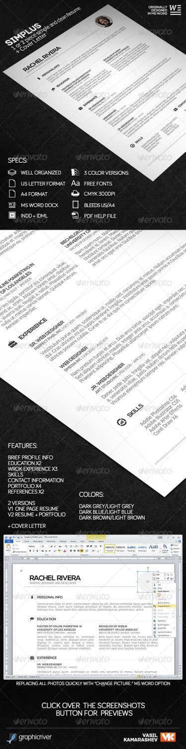 simplus 1 or 2 piece simple and clean resume INDD template