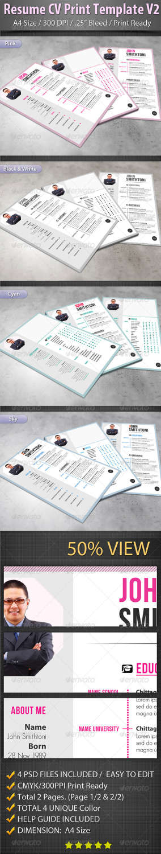 resume cv print v2 PSD template
