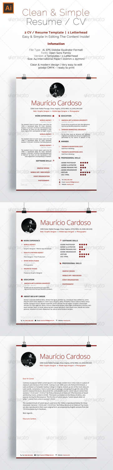 simple clean resume cv AI EPS JPG template