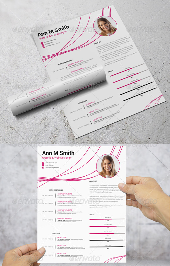 simple resumecv PSD template