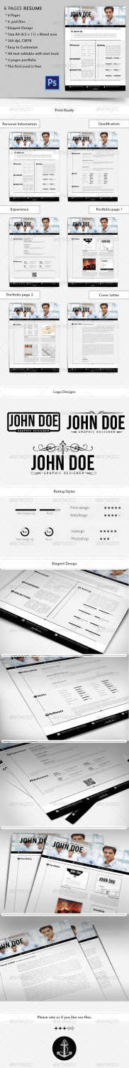6 pages resume PSD template
