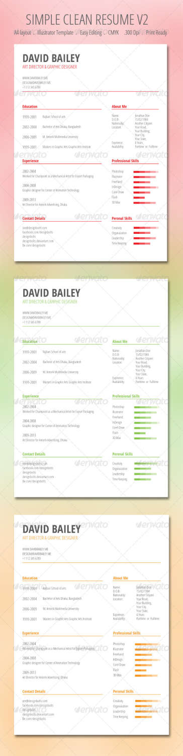 simple clean resume v2 AI EPS template