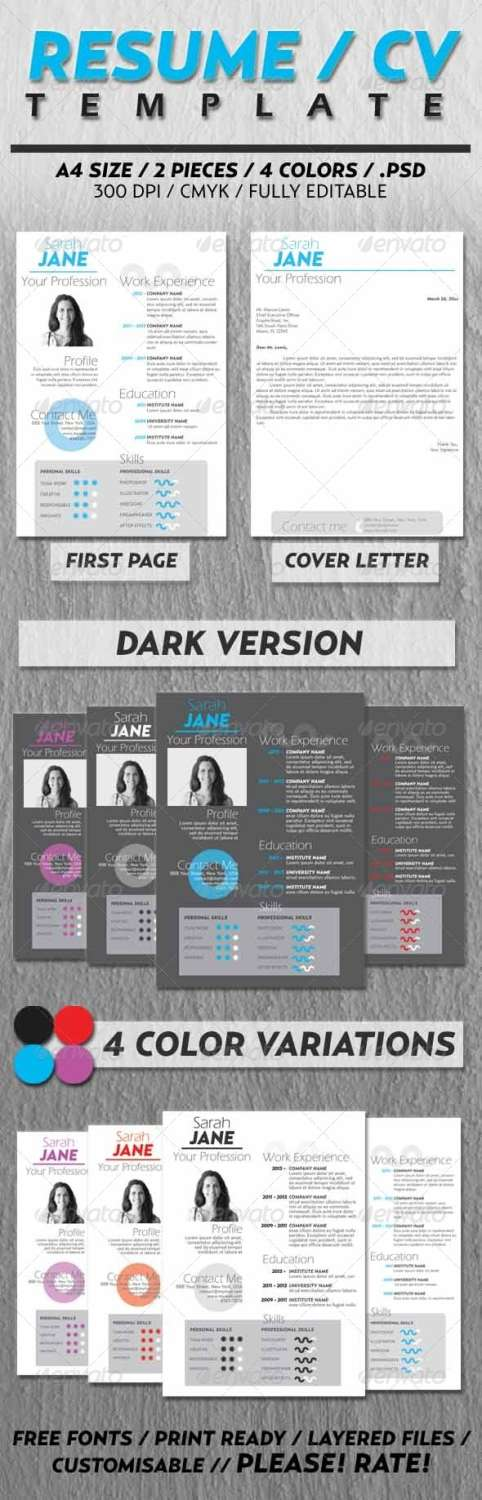 cv resume design PSD template