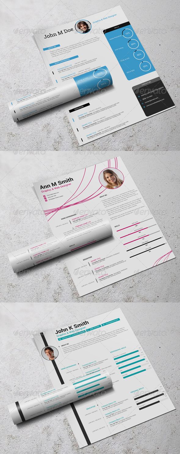 3in1 simple resumecv bundle PSD template
