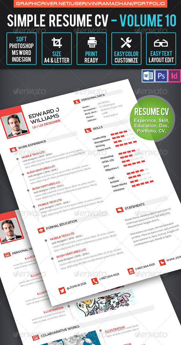 clean resume cv volume 10 INDD PSD template