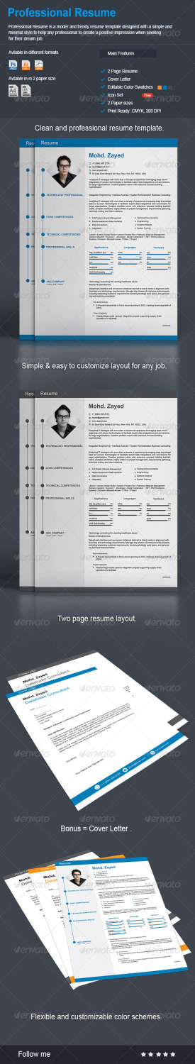 professional resume AI EPS JPG PSD template