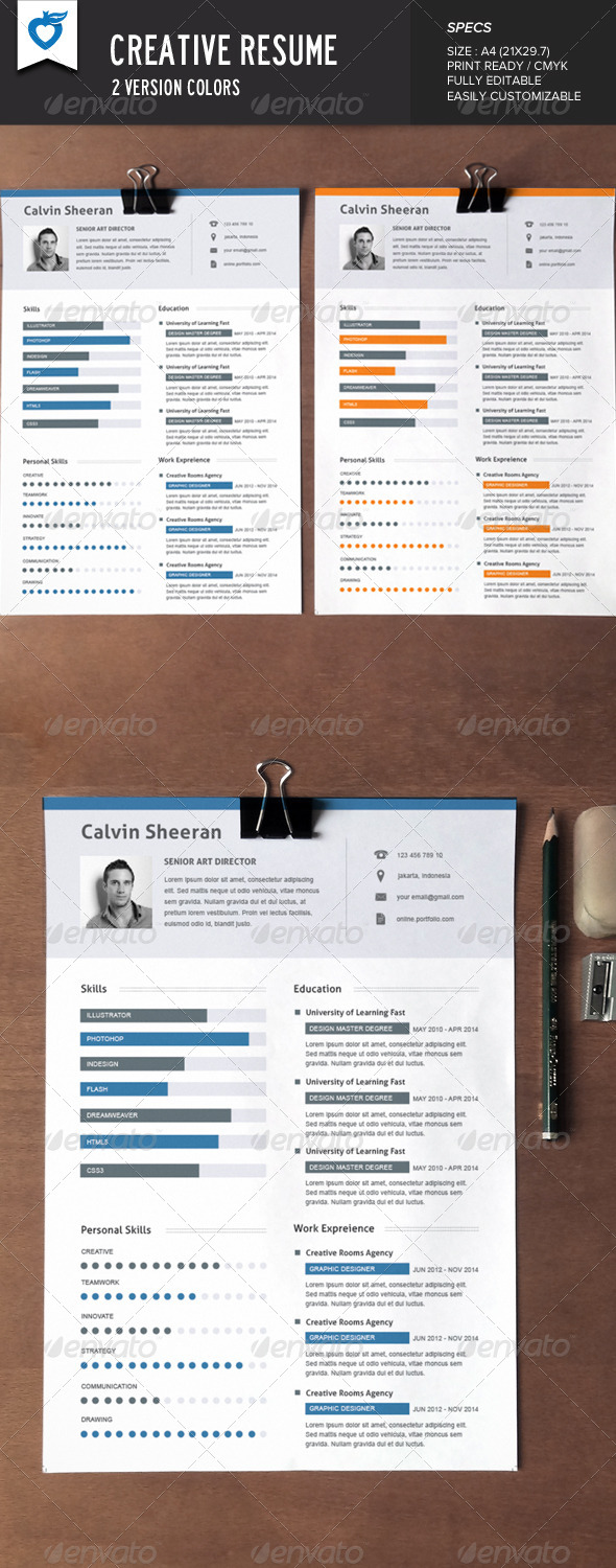 creative resume AI EPS JPG template