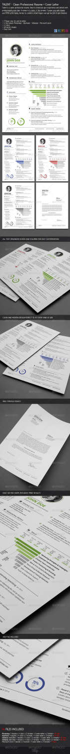 clean resume cover letter AI INDD PSD template