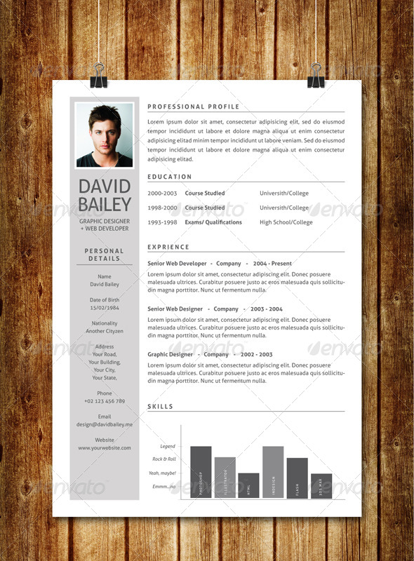 simple clean resume v3 AI EPS template