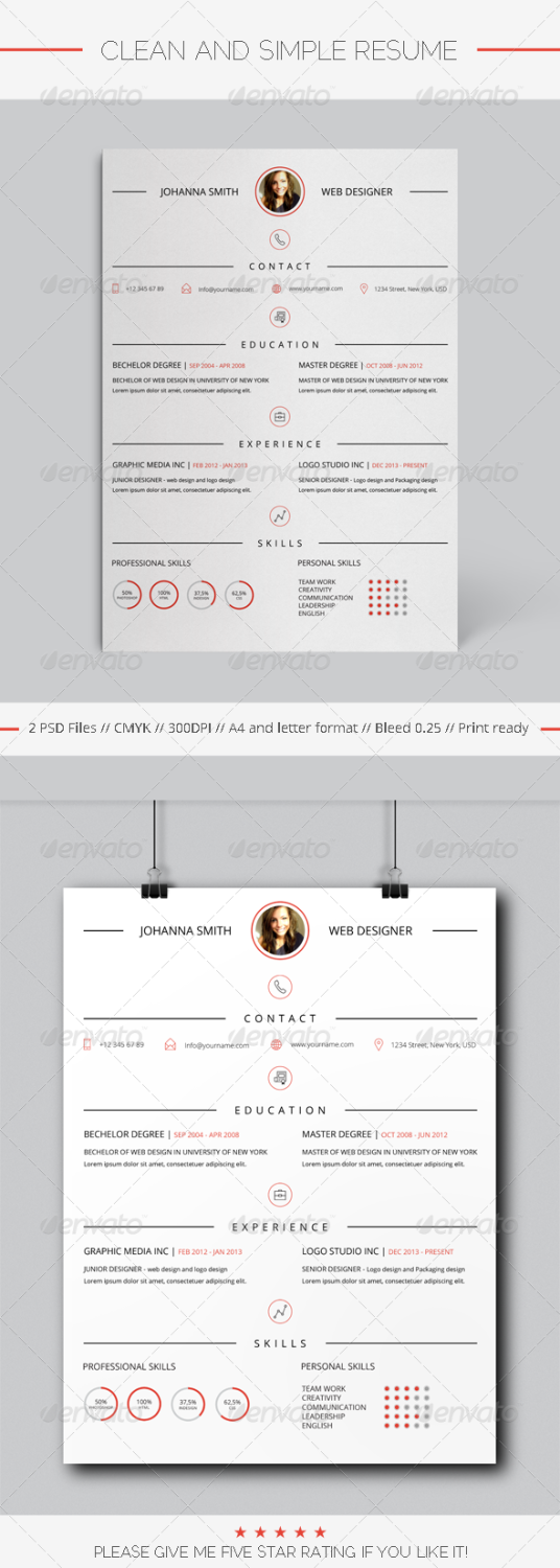 clean and simple resume PSD template