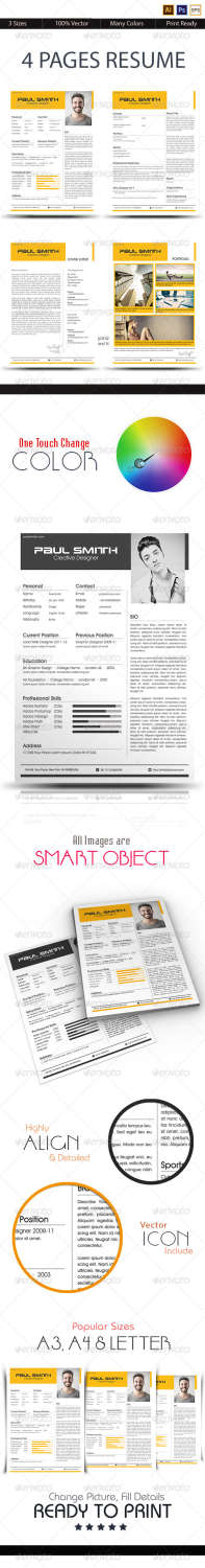 4 pages resume AI EPS PSD template