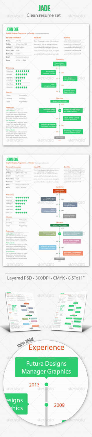 jade resume PSD template