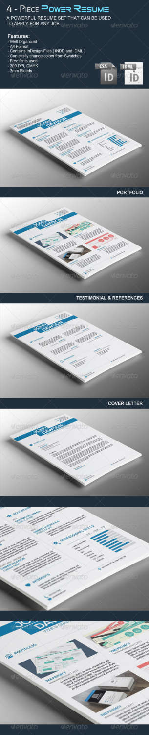 4piece power resume INDD template