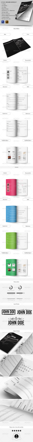resume booklet PSD template