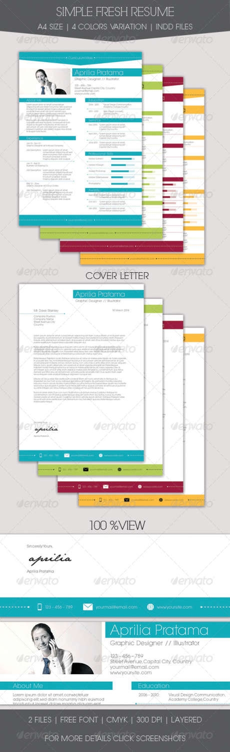 simple fresh resume INDD template