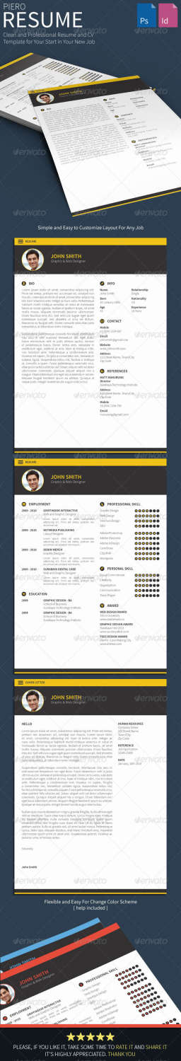 piero resume PSD template