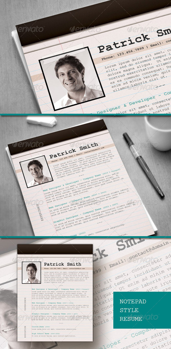 notepad style cvresume PSD template