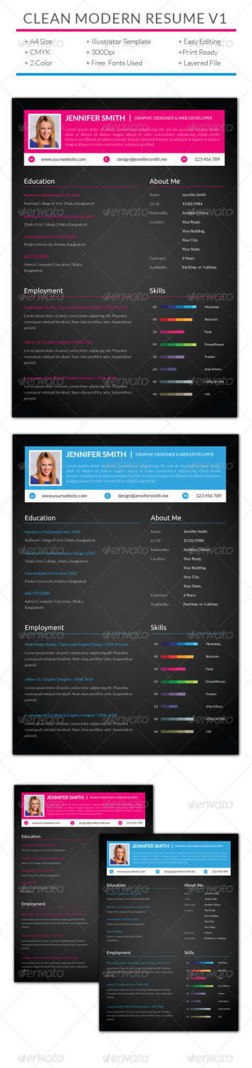 clean modern resume v1 AI EPS template