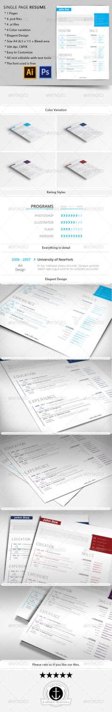 single page resume PSD template