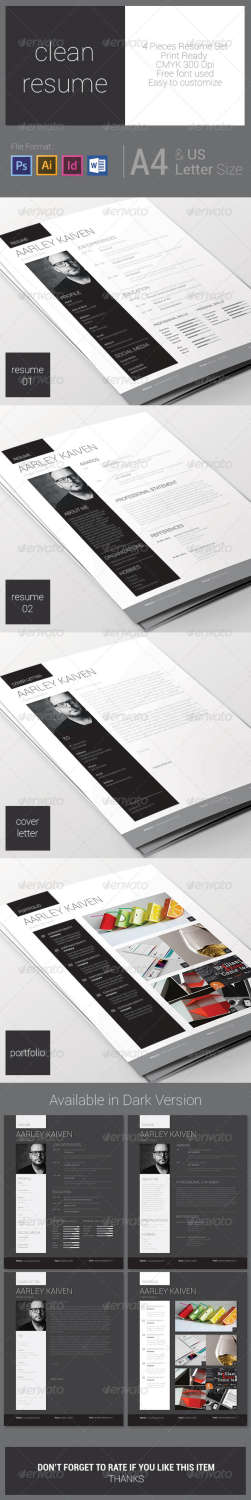 clean resume set AI INDD PSD template