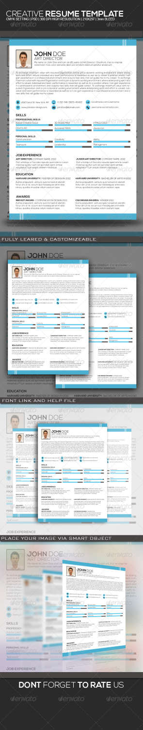 creative resume design PSD template