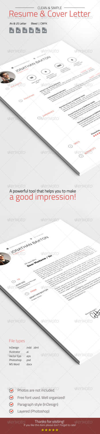 clean simple resume cv AI INDD EPS PSD template