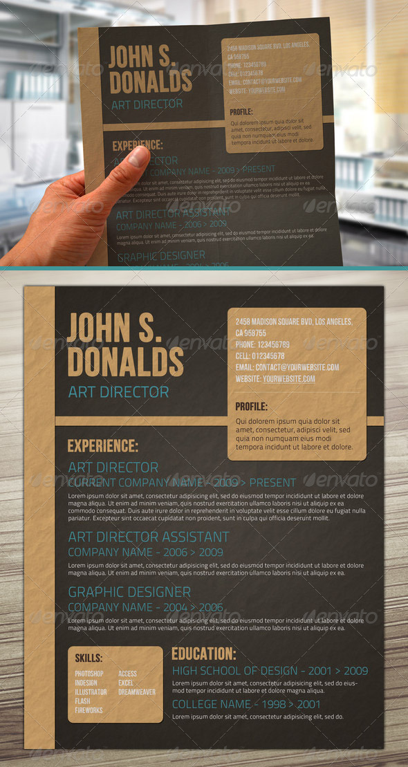 craft paper style resume PSD template