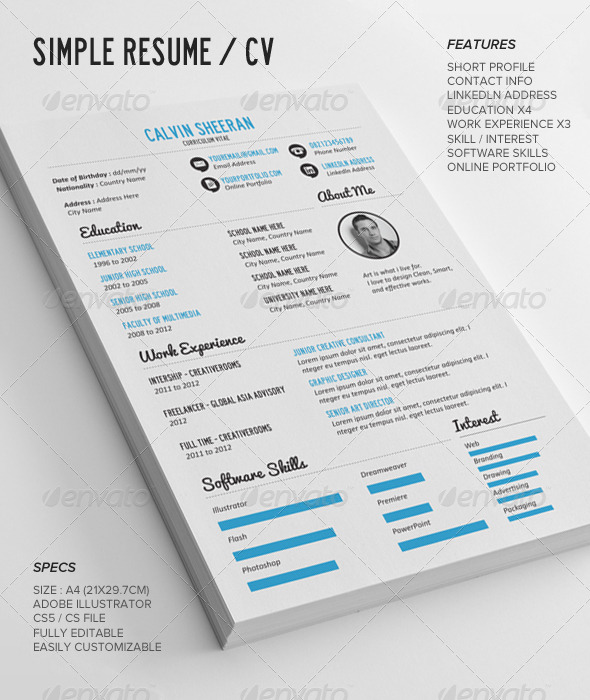 simple resume cv AI EPS JPG PNG template