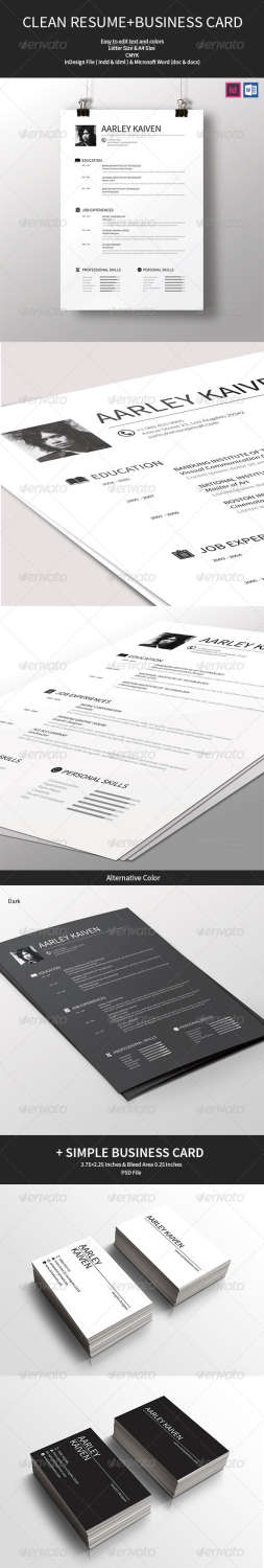 clean resume business card INDD template