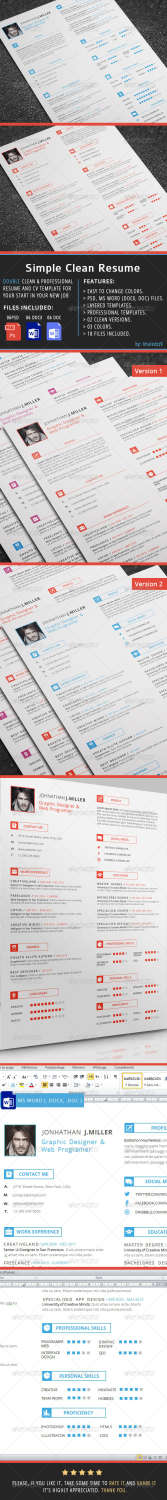 simple clean resume PSD template