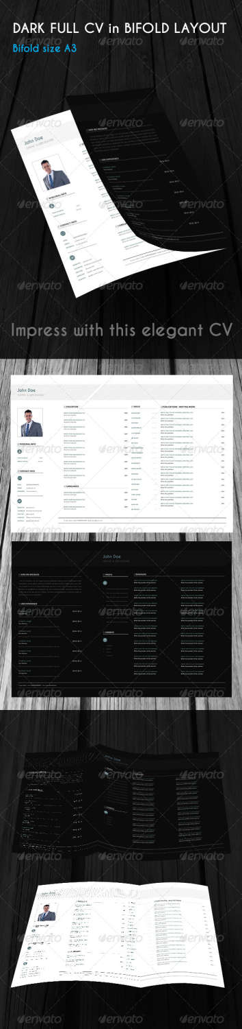 dark full cv bifold INDD template