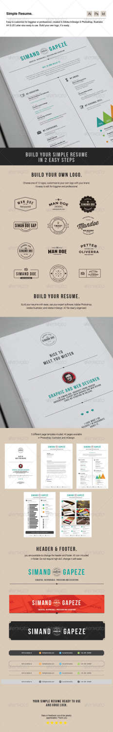 simple resume AI INDD EPS PSD template