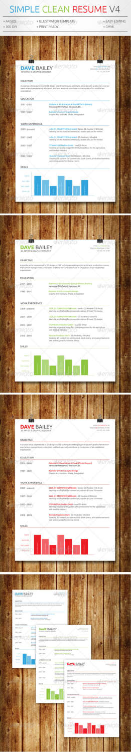 simple clean resume v4 AI EPS template