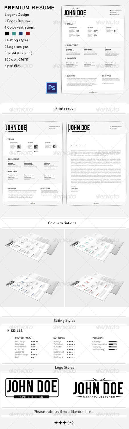 premium resume cover PSD template