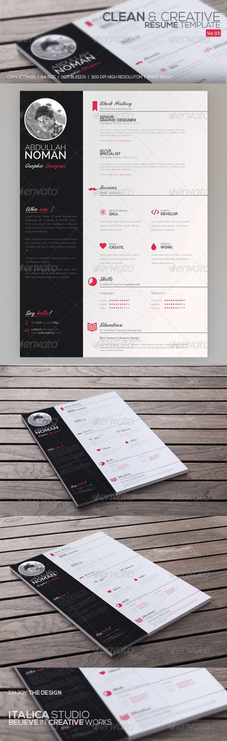 clean resume vol 03 PSD template
