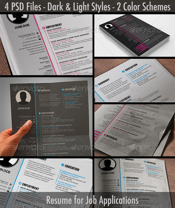 light dark pink blue resume cv JPG PSD template