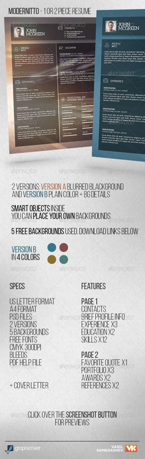 modernitto 1 or 2 piece resume PSD template