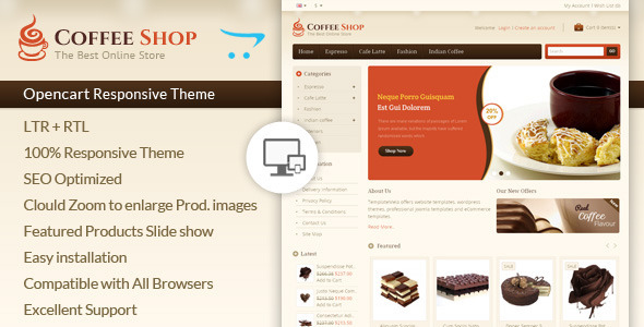 Coffee Shop Opencart Responsive Template