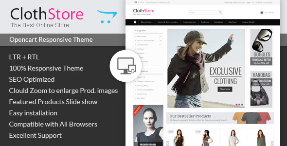 Clothstore Opencart Responsive Theme