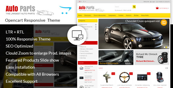Auto Parts Tools Opencart Theme