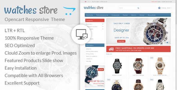 Watch Store Opencart Responsive Theme