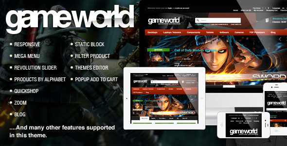 Opencart Game Theme Gameworld