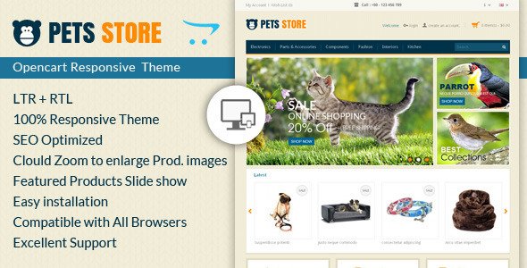 Pet Store Opencart Responsive Theme